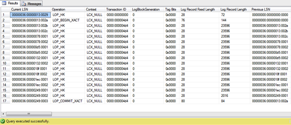 With a Memory-Optimized Table we need only 17 transaction log records