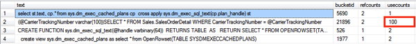 Now we have 1 parameterized execution plan that can be reused