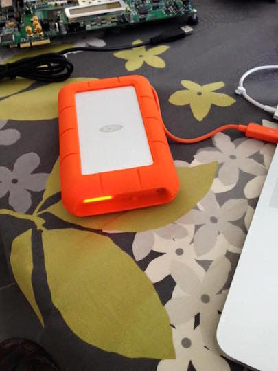 The LaCie Rugged RAID attached through Thunderbolt