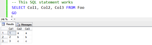 Referencing the column explicitely works...