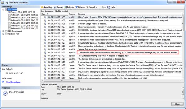 Crash Recovery runs during SQL Server startup