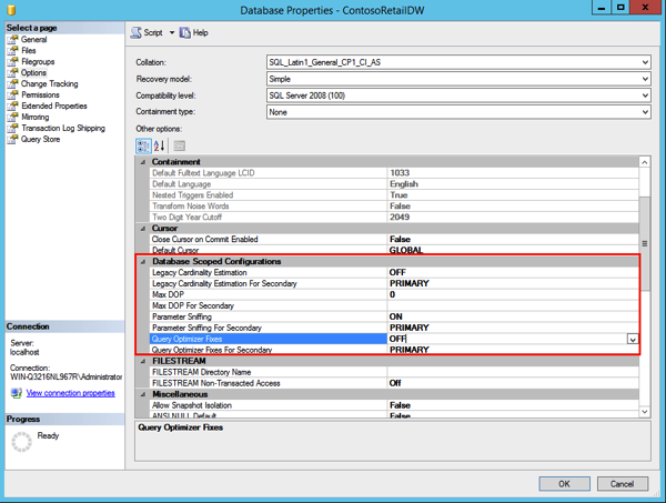 Database Scoped Configuration options in SQL Server 2016
