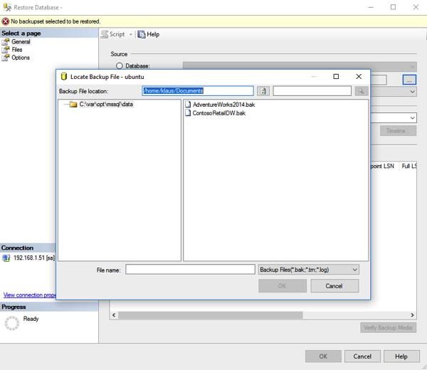 Let's restore a traditional backup on SQL Server for Linux