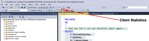 Enabling Client Statistics within SQL Server Management Studio