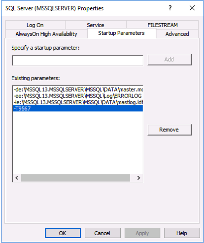 Enabling a Trace Flag on the SQL Server Instance