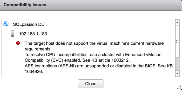 No migration possible, because of CPU incompatibilties