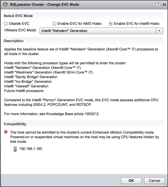 Setting a custom EVC mode in VMware vSphere