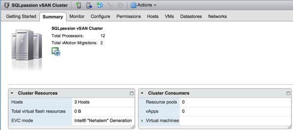 My working VMware vSphere Cluster