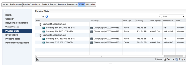 The Disk Groups of the vSAN Management Cluster