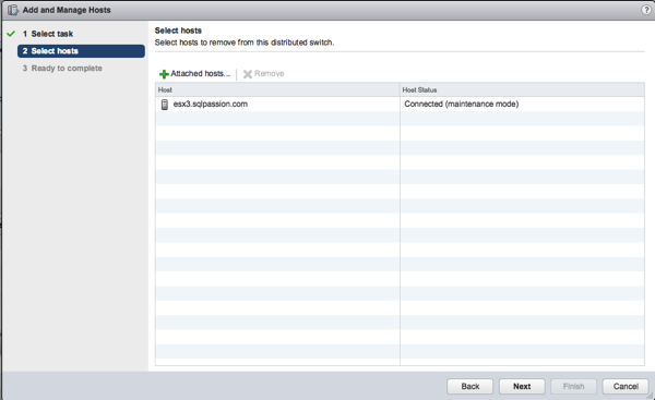 Removing the ESXi Host from the Distributed Switch