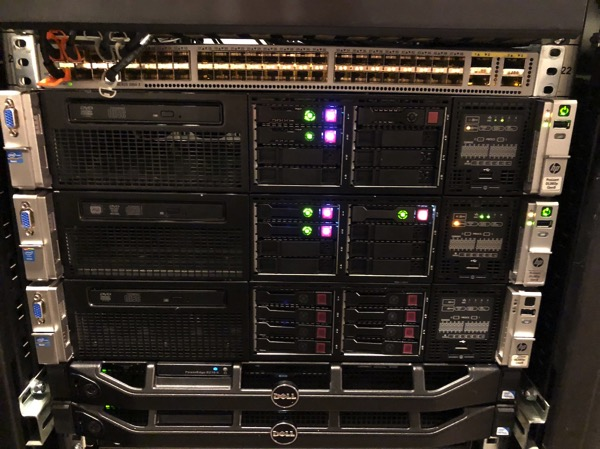 The new HP DL380 G8 is installed into the Server Rack