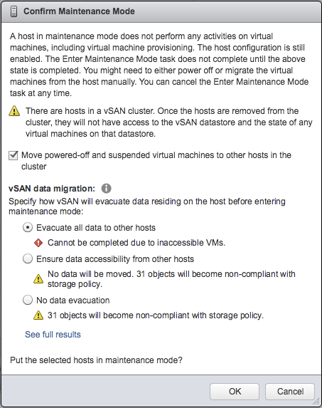 vSAN Data Migration Options when entering Maintenance Mode