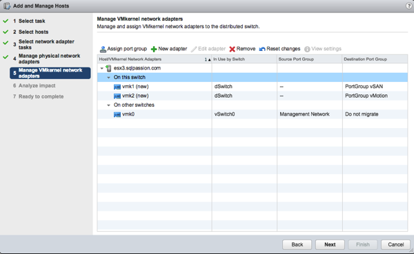 Configuring the vSAN and vMotion Port Groups on the Distributed Switch
