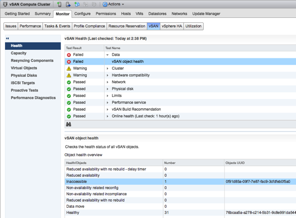 Inaccessible Objects in the vSAN Datastore