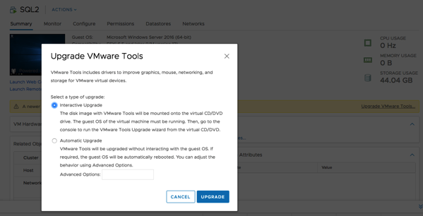 Upgrading the VMware Tools