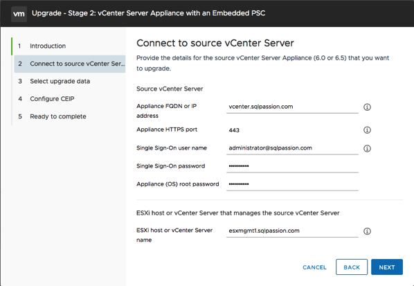 Connecting to the Source vCenter Server