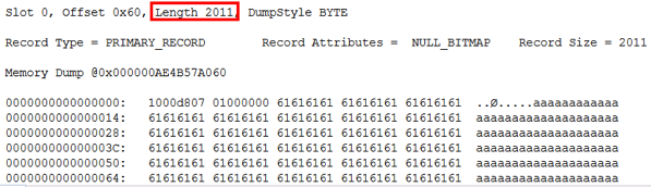 The record length is 2011 bytes