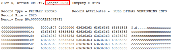 The record length is now 2025 bytes