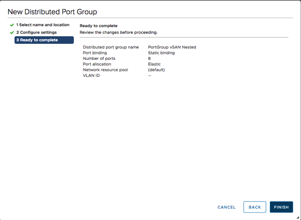 Creating a new Distributed Port Group for vSAN