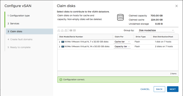 Claiming the Cache and Capacity Disks for vSAN