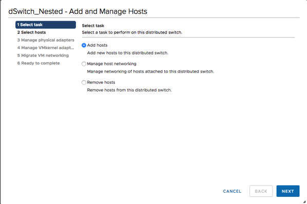 Adding the ESXi Hosts to the Distributed Switch