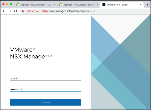 Logging into the NSX-T Manager