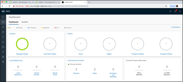 The Dashboard of the NSX-T Manager