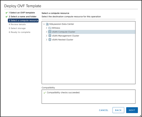 Selecting the Compute Resource for the NSX-T Manager