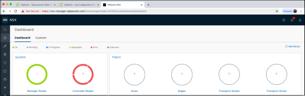 The updated Dashboard of the NSX-T Manager