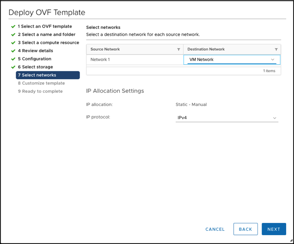 Selecting the Network for the NSX-T Manager