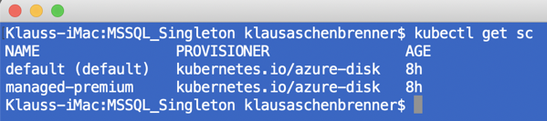 Getting the Storage Classes of the Kubernetes Cluster