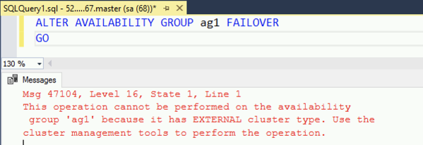 Trying an Availability Group Failover from T-SQL
