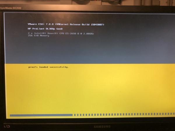 ESXi 7.0 is loading!