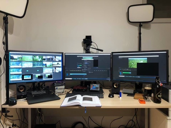 Video editing in Adobe Premiere across 3 screens!